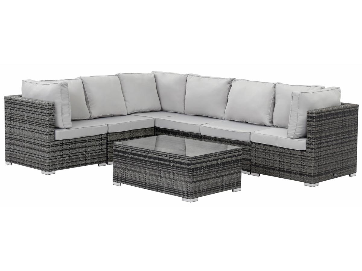 salon de jardin modulable en r sine tress e auckland luxe florida gris 89210 89214. Black Bedroom Furniture Sets. Home Design Ideas
