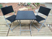 "Salon de jardin Melbourne - ""Atlanta"" - Noir - 1 table pliable + 2 chaises pliables"