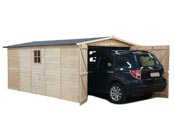 "Garage bois ""Papillon"" - 5.10 x 3.37 x 2.23 m - 17.23 m2 - 19mm"