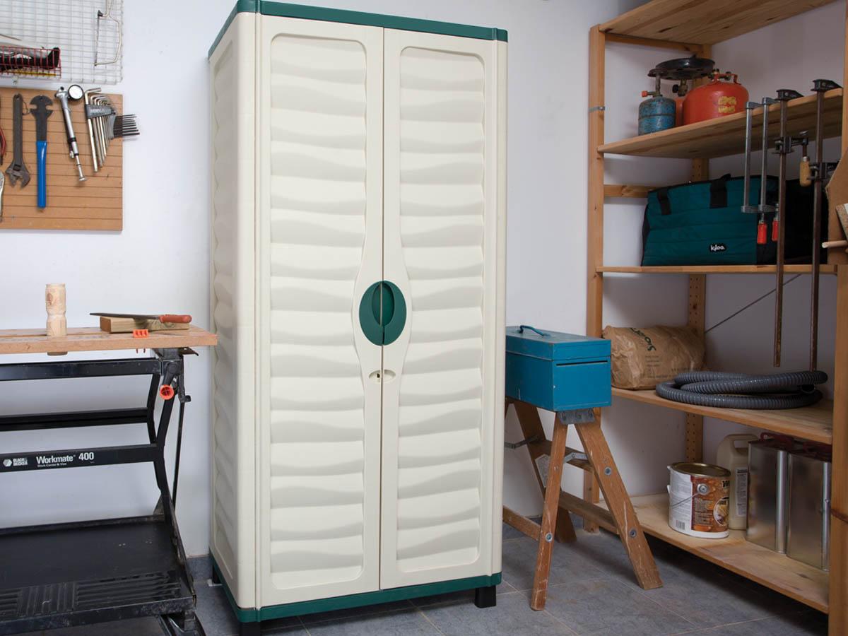 Armoire jardin bali 74 x 43 x 157 cm vert et beige 60022 - Armoire de jardin resine ...