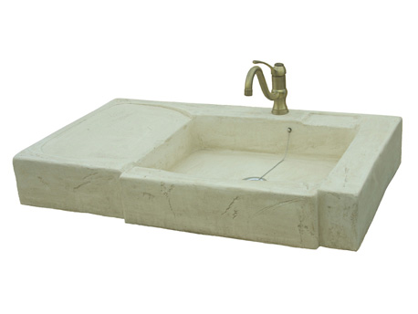 """Évier """"Arezzo"""" en pierre reconstituée avec égouttoir - 99 x 57 x 14 cm -"""