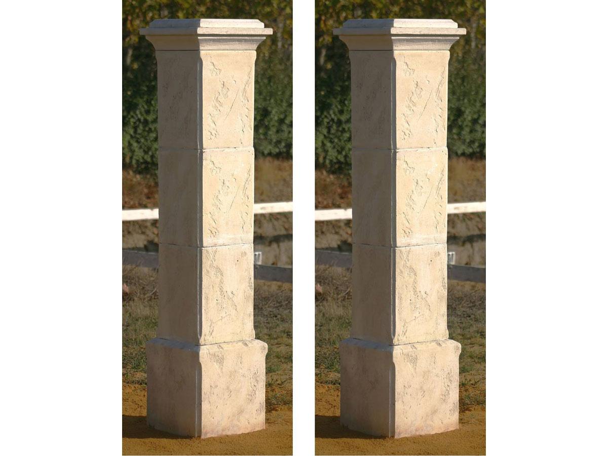 Lot de 2 piliers de portail tradition 41 x 41 x 50 cm 80424 - Chapeau pilier portail ...