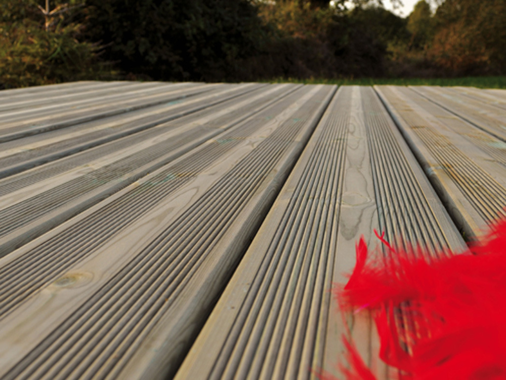 Lames terrasse en kit pin sylvestre 25 m coloris vert 62046 62051 - Lame de terrasse en pin ...