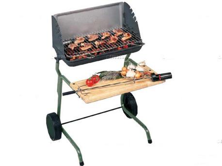 "Barbecue bois ""Victoria"" - grille rectangle : 56 x 28 cm"