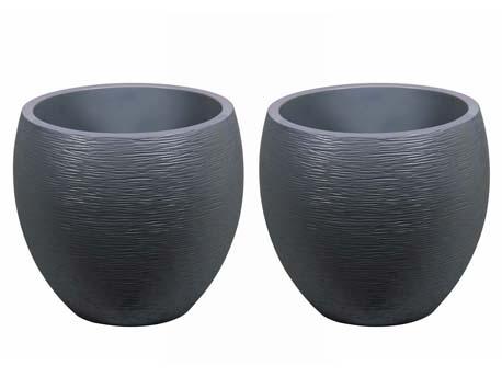 """Pot à fleurs """" Egg"""" - Gris anthracite - Ø 50 x 45 cm - lot de 2"""