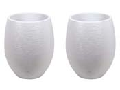"""Pot à fleurs """" Egg"""" - Blanc Cérusé - Ø 50 x 60 cm - lot de 2"""