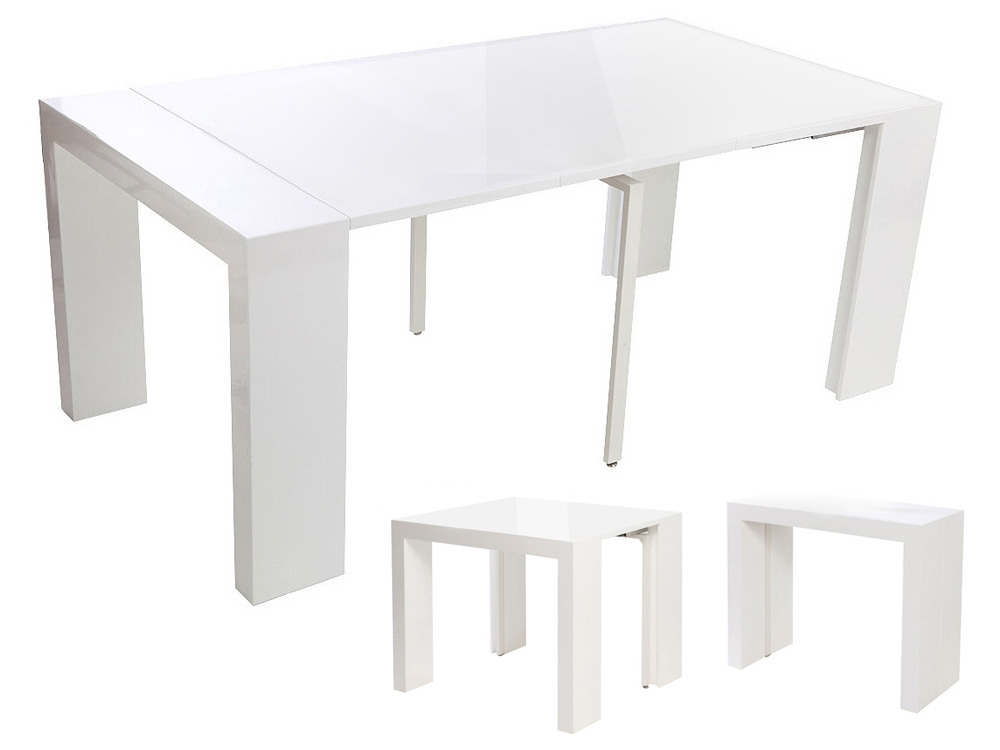 Table console extensible dina blanc laqu 61882 - Table extensible blanc laque ...