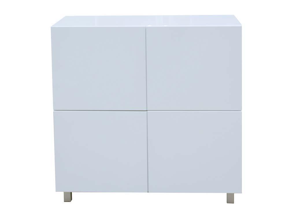 buffet coulis en mdf laqu blanc 4 portes pieds m talliques 67085. Black Bedroom Furniture Sets. Home Design Ideas