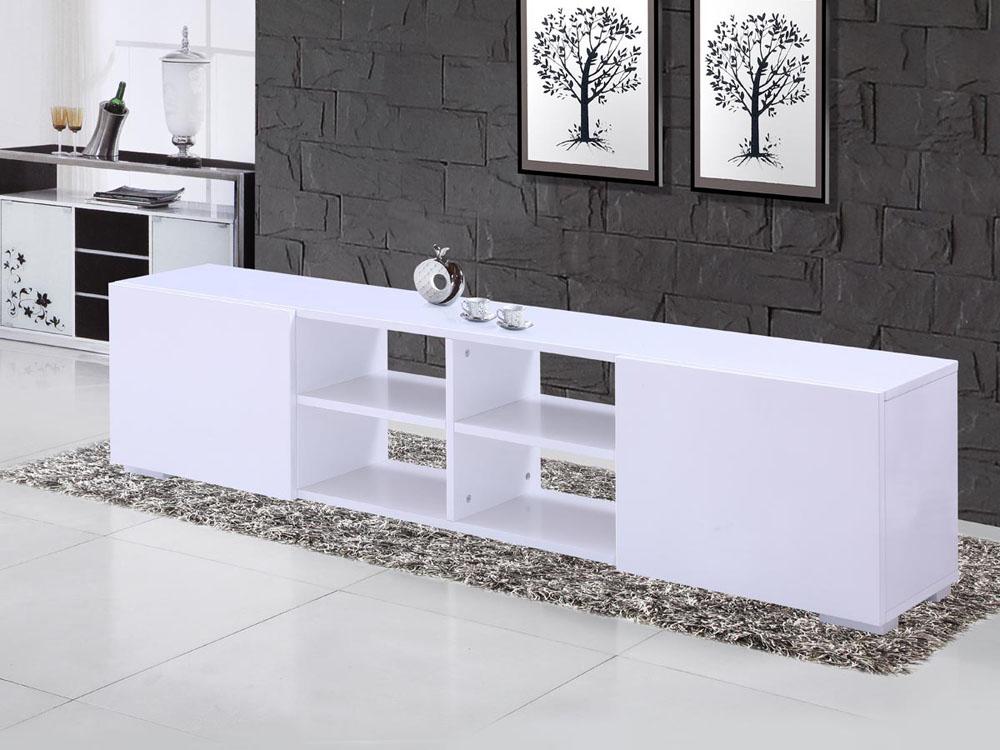 Meuble Tv Blanc Habitat : Meuble Tv Alicia En Mdf – Blanc Laqué 68056