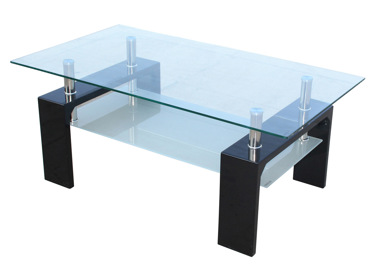 Table basse camillia 110 x 60 x 45 cm noir 68040 70049 - Table basse en verre habitat ...
