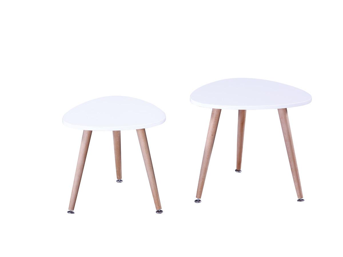 Lot de 2 tables basses Sunny - 48 x 48 x 43 cm - Blanc