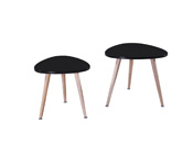 "Lot de 2 tables basses ""Sunny"" - 48 x 48 x 43 cm - Noir"