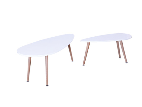 "Lot de 2 tables basses ""Billy"" - 100 x 50 x 40 cm - Blanc"