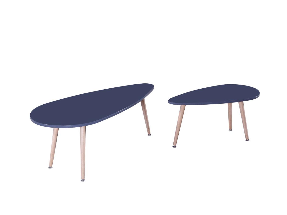Lot de 2 tables basses billy 100 x 50 x 40 cm gris 70093 70096 - Table basse montante ...