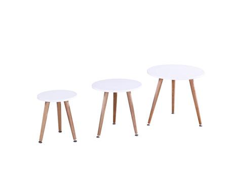 """Lot de 3 tables basses """"Miky"""" - 48 x 48 x 45 cm - Blanc"""