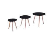 "Lot de 3 tables basses ""Miky"" - 48 x 48 x 45 cm - Noir"