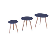 "Lot de 3 tables basses ""Miky"" - 48 x 48 x 45 cm - Gris"
