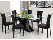 """Table repas """"Mona"""" en verre rectangulaire - 150 x 90 x 75 cm - Noir"""