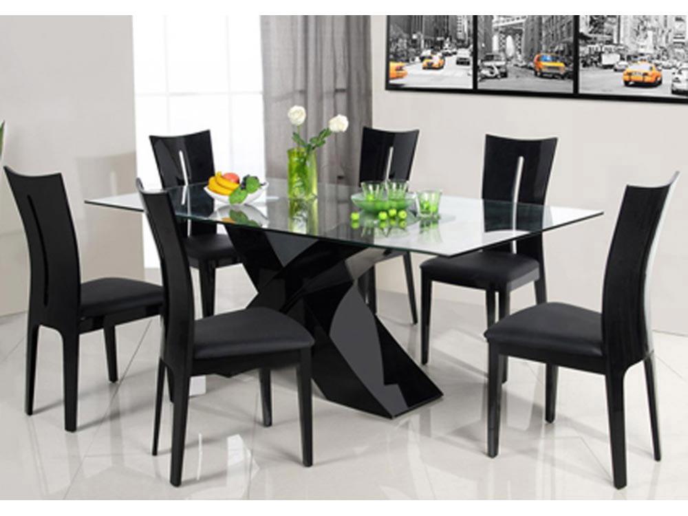 Table repas mona 200 x 90 x 75 cm noir 65206 68053 for Table repas
