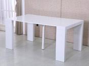 "Table repas extensible ""Dina"" - 160/40 x 94 x 75 cm - Blanc laqué"