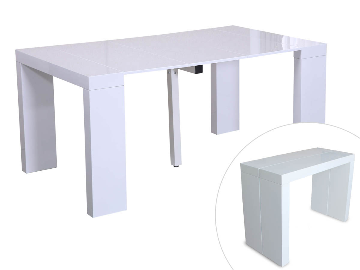table console extensible blanc laque
