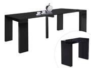 Table repas extensible  Dina - 200/40 x 94 x 75 cm -  Noir laqué