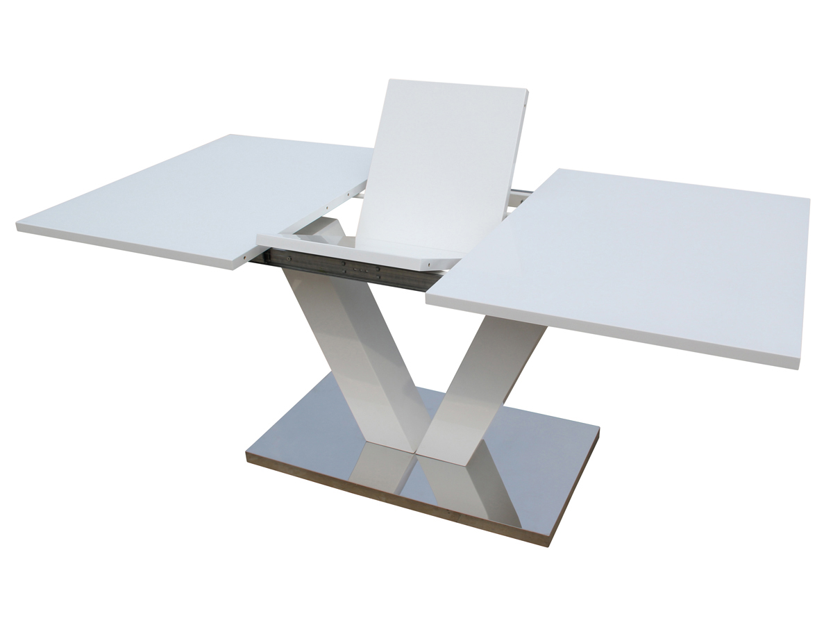 Table repas extensible lora en mdf laqu blanc 70058 for Table carree extensible blanc laque