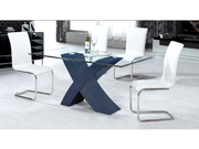 Table repas  Mona en verre rectangulaire - 200 x 90 x 75 cm - Gris