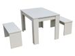 "Table avec 2 bancs ""Tino"" - 140 x 74 x 70 cm - Blanc"