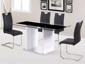 "Table repas ""Lora"" en verre - 150 x 90 x 75 cm - Blanc/noir"