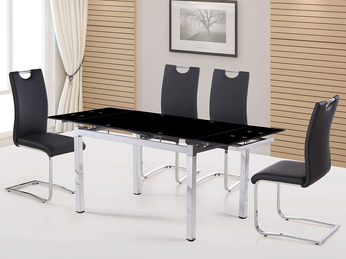 table repas extensible sterna en verre 120 180 x 80 x 75 cm ebay. Black Bedroom Furniture Sets. Home Design Ideas