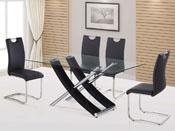 """Table repas """"Diva"""" en verre - 165 x 90 x 76 cm - Coloris noir"""