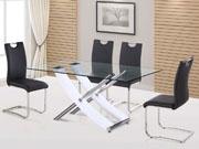 Table repas  Diva  en verre - 165 x 90 x 76 cm - Coloris blanc