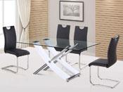 "Table repas ""Diva"" en verre - 165 x 90 x 76 cm - Coloris blanc"