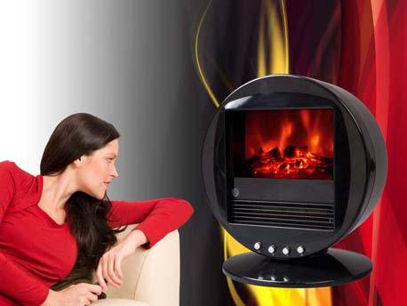 """Cheminée électrique """"Fire bowl"""" noire - 1000 W ou 2000 W"""