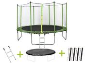 """Trampoline """" Yoopi """" - Ø 4.25 m - avec filet + échelle + couverture + kit d"""