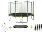 """Trampoline """" Yoopi """" - Ø 4.25 m - avec filet + échelle + couverture + kit d'ancrage"""