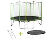 Trampoline  Yoopi  - � 3.65 m - avec filet + �chelle + couverture