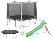 Trampoline  Yoopi  - � 3.65 m - complet + Toboggan doubles vagues 1,77m Family