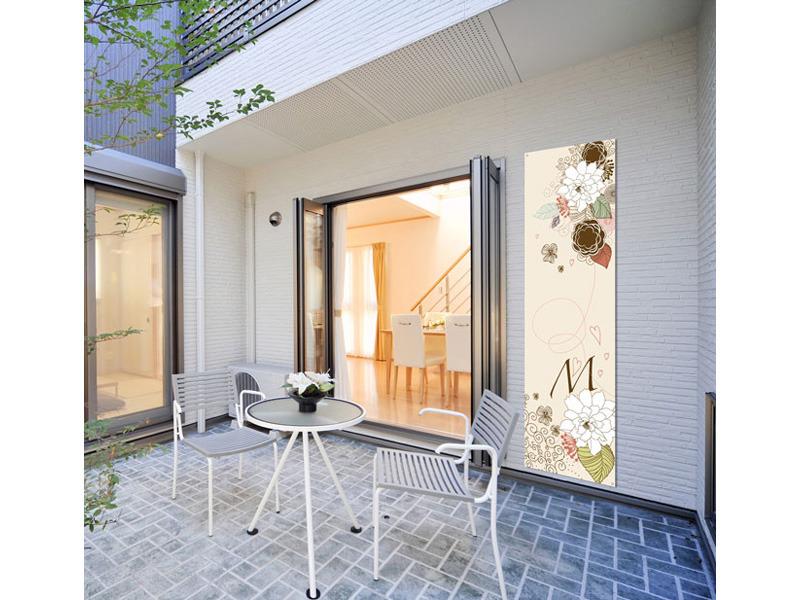 Toile décorative pour terrasse Fleur Beige 0,80 x 1m
