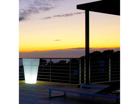 Vase lumineux blanc carré à rebord 50 cm.