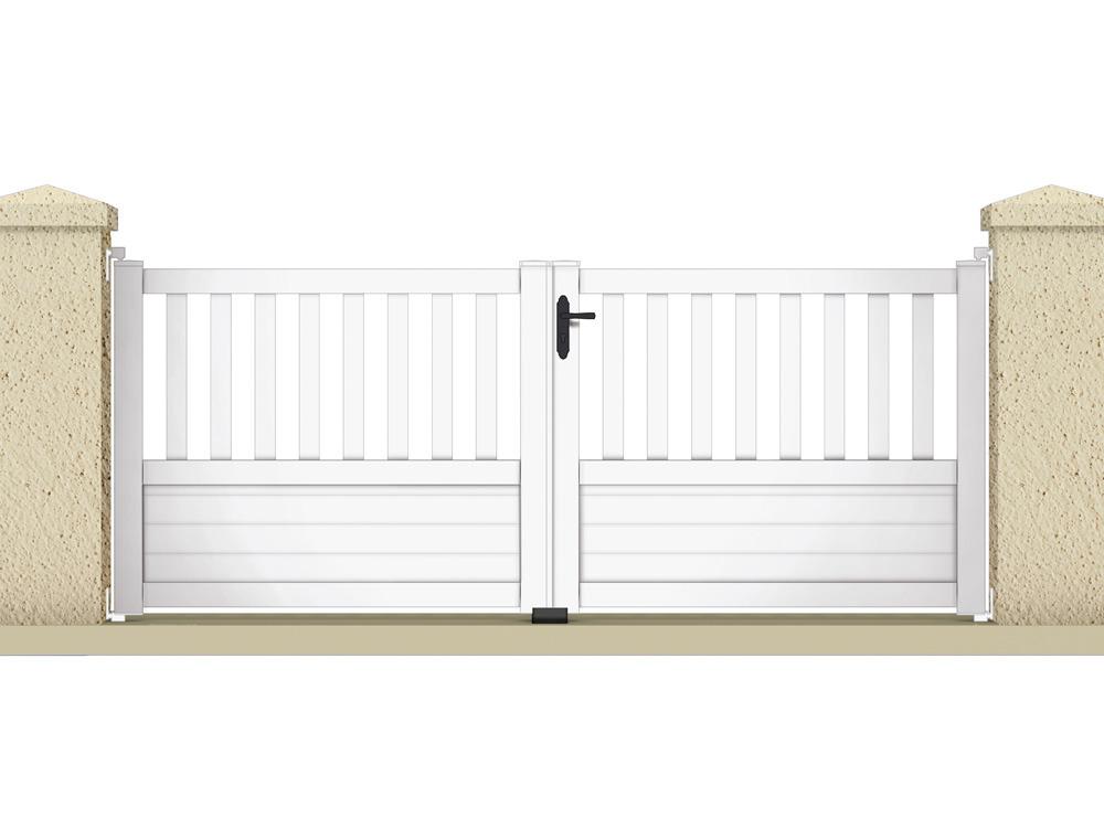 Portail battant jupiter 3 55 m pvc coloris blanc for Portail jardin pvc