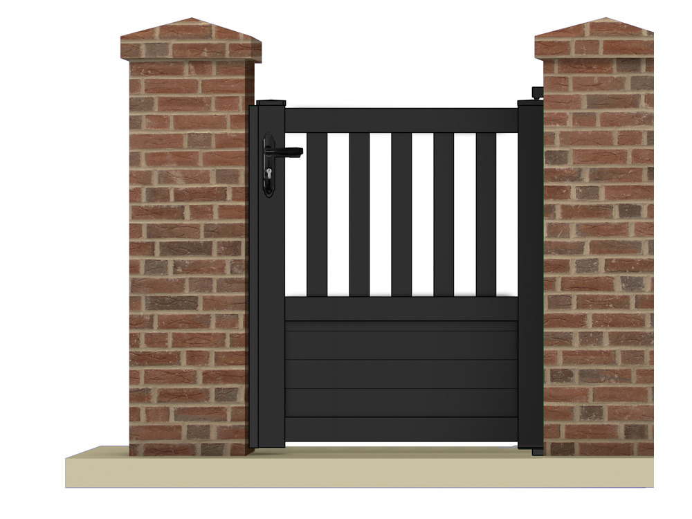 portillon pluton 1 05 m aluminium coloris gris anthracite 63292. Black Bedroom Furniture Sets. Home Design Ideas