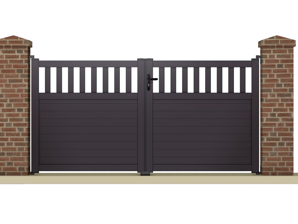 Portail battant egeon m aluminium coloris for Portillon jardin gris