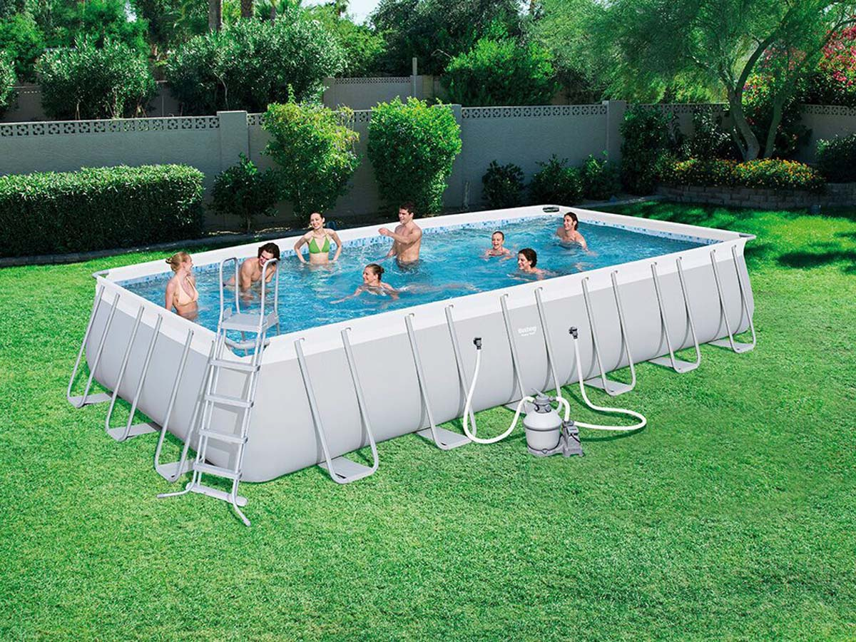 Piscine acier rectangulaire x x m 89271 for Piscine 66