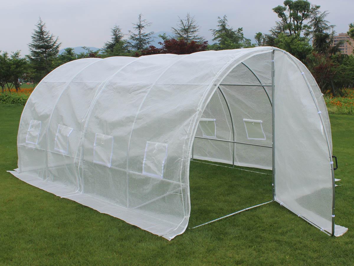 Serre tunnel de jardin avec porte mimosa 220g m2 67252 67277 for Serre en verre de jardin
