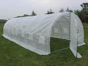 "Serre tunnel de jardin avec porte ""Mimosa"" - 220g/m2 - 24m² - 8 x 3 x 2 m"