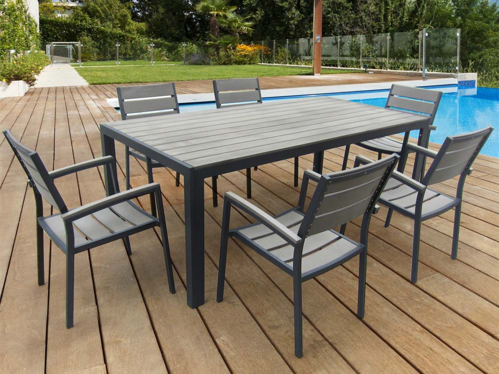 Salon de jardin en aluminium gris phoenix luxe une for Salon jardin table