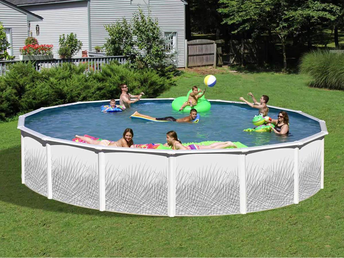 Piscine en acier ondul galvanis ronde liner skimmer for Liner piscine ronde 5 50