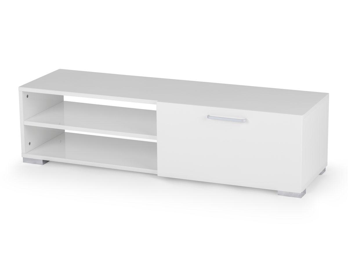 Meuble Tv Blanc Habitat : Meuble Tv Viola En Mdf Laqué Blanc – 2 Niches Et 1 Porte 69902